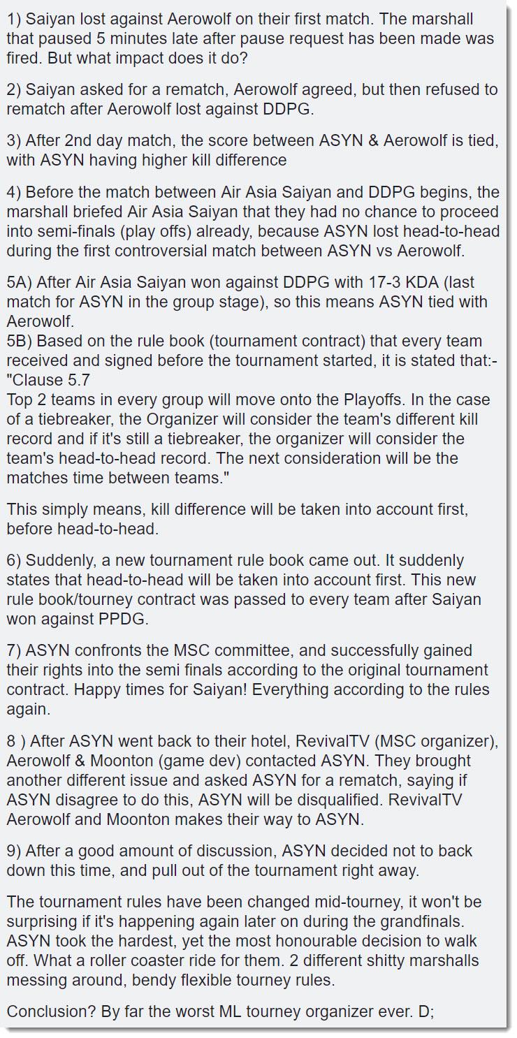 MSC drama chronology