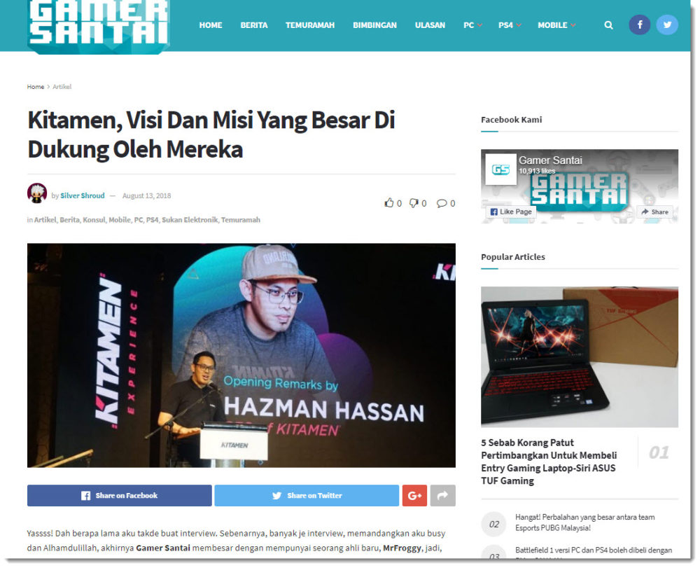 gamer santai kitamen coverage